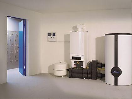 Beispiel für Aufbau einer Gasheizung mit Warmwasserspeicher